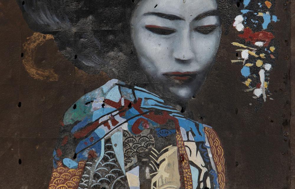Peinture sur métal Geisha